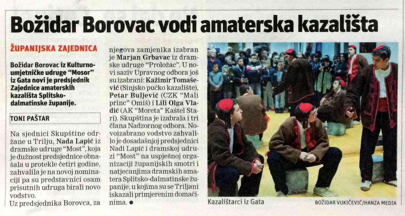 """ČESTITKE BOŽIDARU BOROVCU I KUU """"MOSOR"""" IZ GATA"""