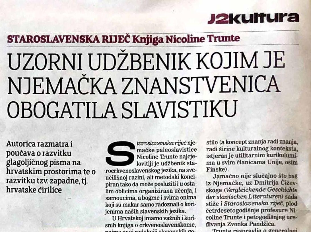 """""""STAROSLAVENSKA RIJEČ"""" NICOLINE TRUNTE"""