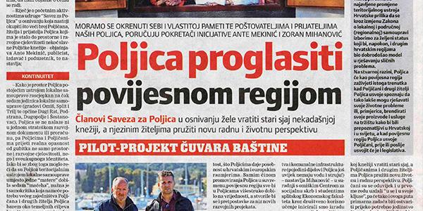 Poljica proglasiti povijesnom regijom (Slobodna Dalmacija, 18. travnja 2017.)