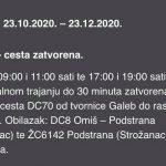 U povodu zatvaranja ceste kroz Zakučac (29): HAK – OBAVIJEST VOZAČIMA KROZ ZAKUČAC
